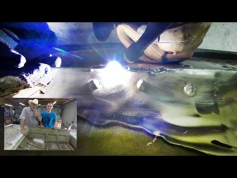 Tig welding repair of a hole in an aluminum fishing boat
