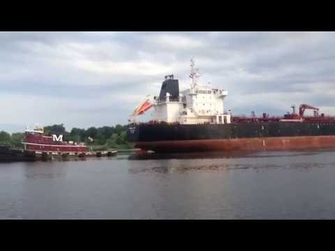 Tanker turning on cape fear river
