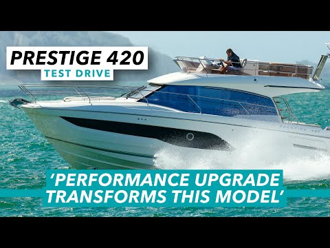 This pocket flybridge packs a punch   prestige 420 review   motor boat & yachting
